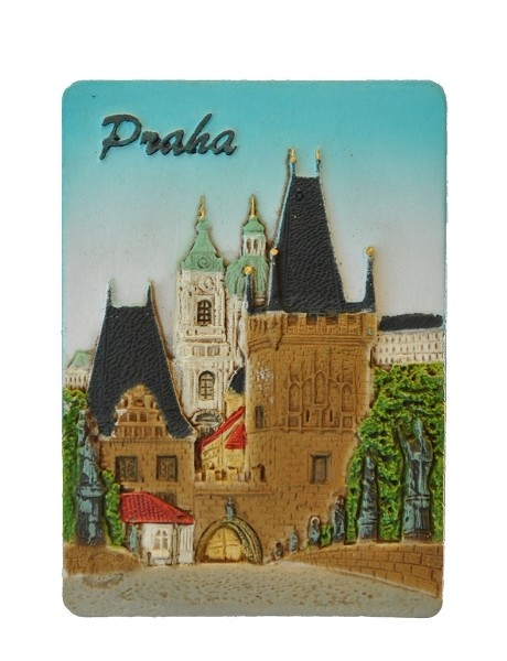Prague Charles Bridge & Lesser Town ceramic embossed magnet - day view