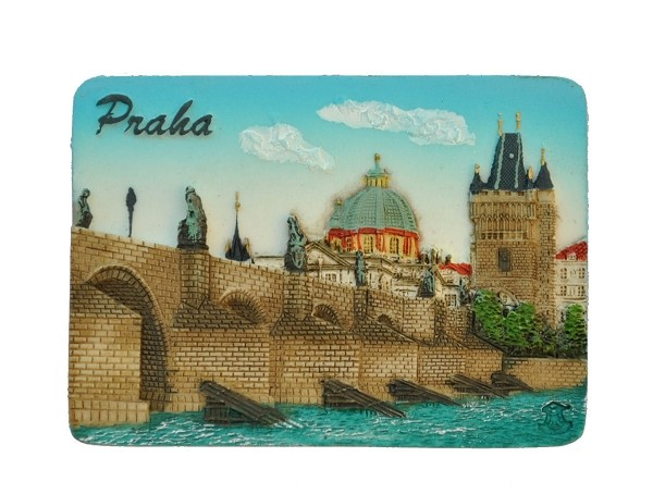 Prague Charles Bridge ceramic magnet