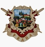 Wooden picture magnet Prague Arms & Castle