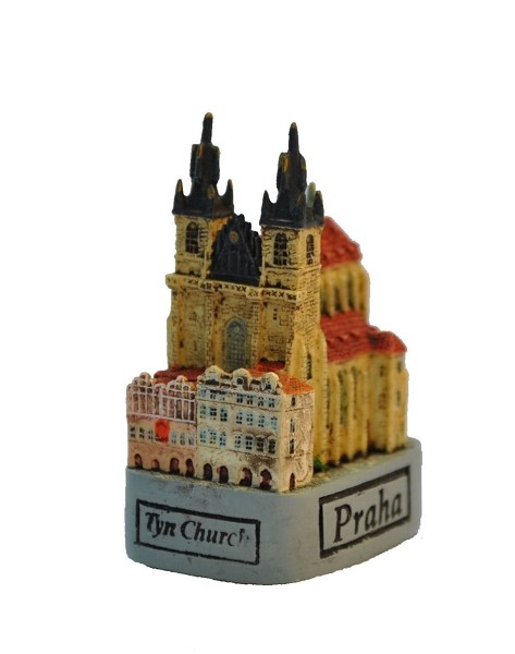 Prague Tyn Church small ceramic model - view from Old Town Hall