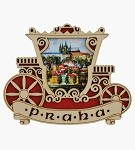 Wooden picture magnet Prague Fiakre & Castle