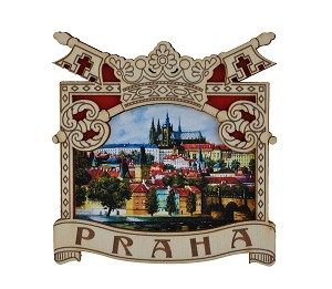 Wooden picture magnet Prague Keys & Castle