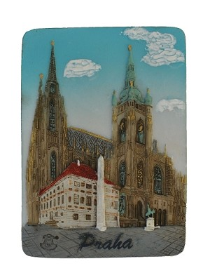 Ceramic Embossed Magnet Prague St. Vitus Cathedral