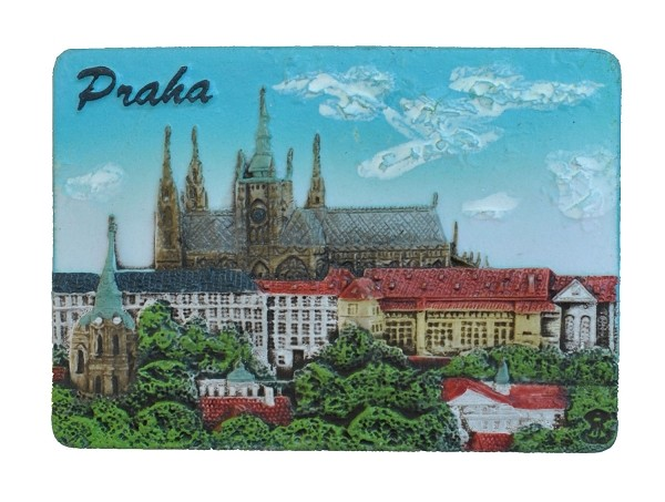 Prague Castle Skyline ceramic embossed magnet