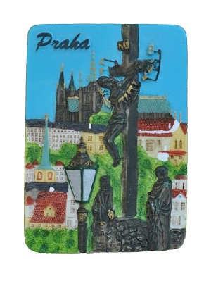 Prague Charles Bridge & Jesus ceramic magnet