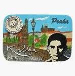 Ceramic Embossed Magnet Prague Kafka Skyline