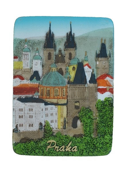 Prague Old Town Towers ceramic embossed magnet