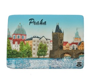 Prague Charles Bridge Shore ceramic magnet