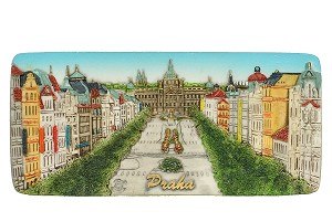 Ceramic Embossed Magnet Prague Venceslav Square Panorama