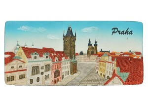 Ceramic Embossed Magnet Prague Old Town Square Hall Panorama