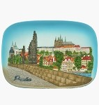 Ceramic embossed picture Prague Castle & Bridge