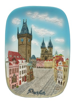 Ceramic embossed picture Prague Old Town Square & Town Hall
