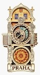 Wooden magnet Prague Astronomical Clock - full tower