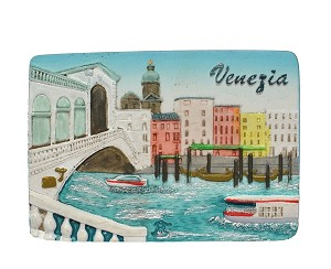 Ceramic Embossed Magnet Venezia Rialto Waterfront