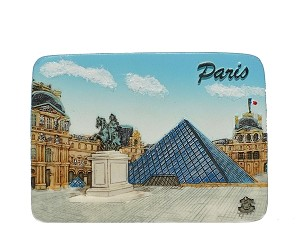 Paris Louvre Pyramid ceramic magnet