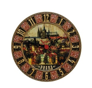 Prague Castle & Lesser Town painted wooden watch