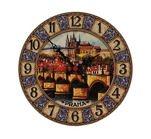 Prague Castle & Bridge painted wooden clock