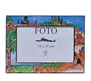 Prague painted wooden photo frame 10x15