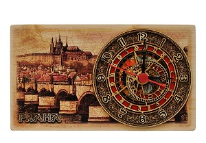 Prague Castle Skyline wooden picture clock