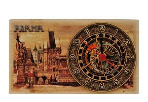 Prague Charles Bridge wooden picture clock