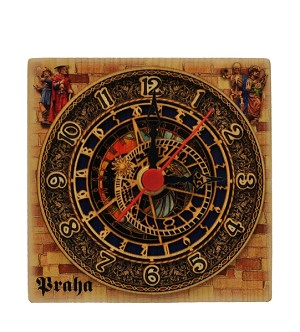 Prague Astronomical Clock square wooden watch