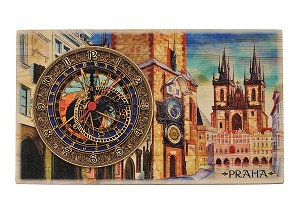 Prague Old Town Square & Astronomical Clock thick wooden watch