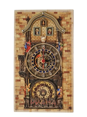 Prague Astronomical Clock Full Tower & Apostles thick wooden watch