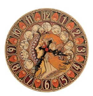 Alphonse Mucha Zodiac painted wooden clock