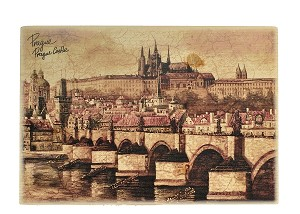 Wooden Board Picture Prague skyline brown