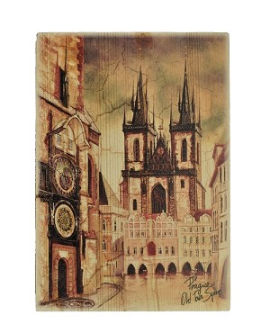 Wooden Board Picture Prague Old Town Square brown