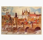 Wooden Board Picture Prague skyline