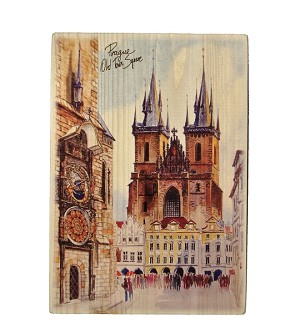 Wooden Board Picture Prague Old Town Square Tall