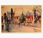Wooden Board Picture Prague Charles Bridge
