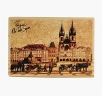 Wooden Board Picture Prague Old Town Square horses