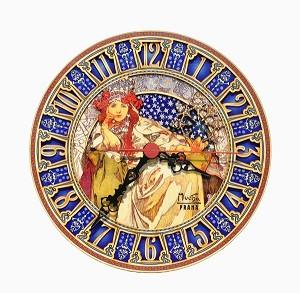 Alphonse Mucha Hyacinth painted wooden clock