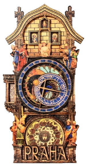 Prague Astronomical Clock painted magnet - full tower