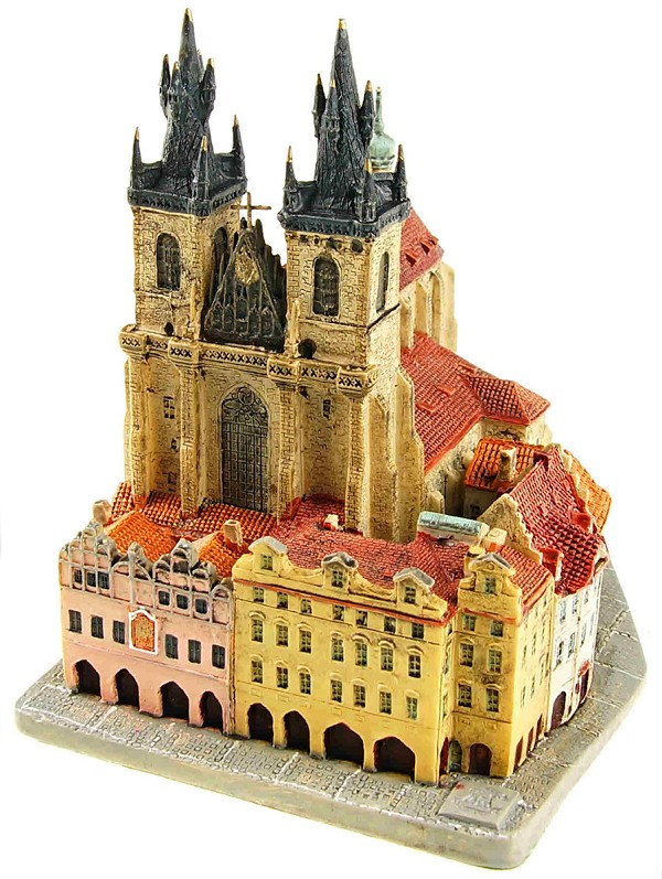 Prague Tyn Church ceramic model - view from Melantrichova Street