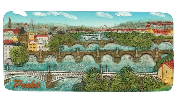 Prague Bridges Panorama ceramic embossed magnet