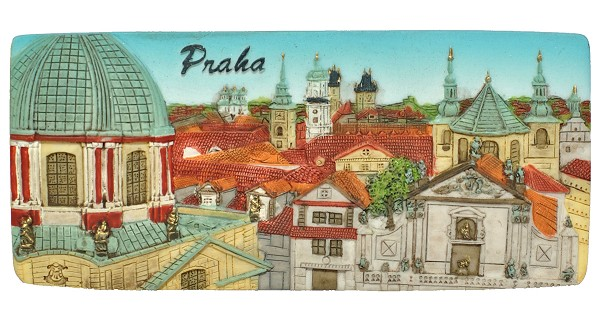 Prague Old Town Towers Panorama ceramic embossed magnet