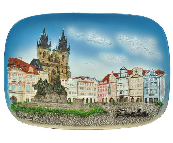 Prague Old Town Square ceramic embossed picture