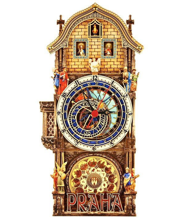 Large Prague Astronomical Painted Wooden Clock
