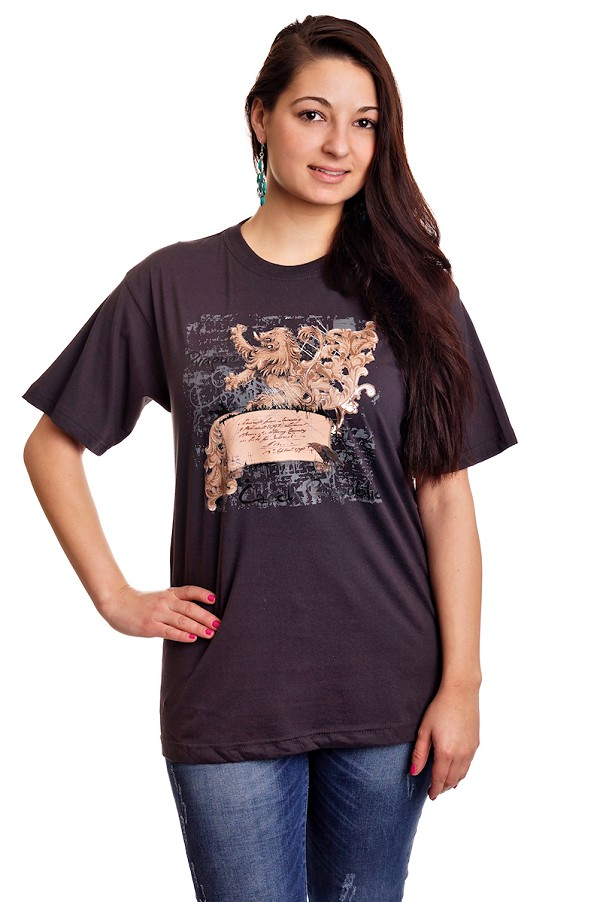Stylized Czech Lion T-shirt - gray