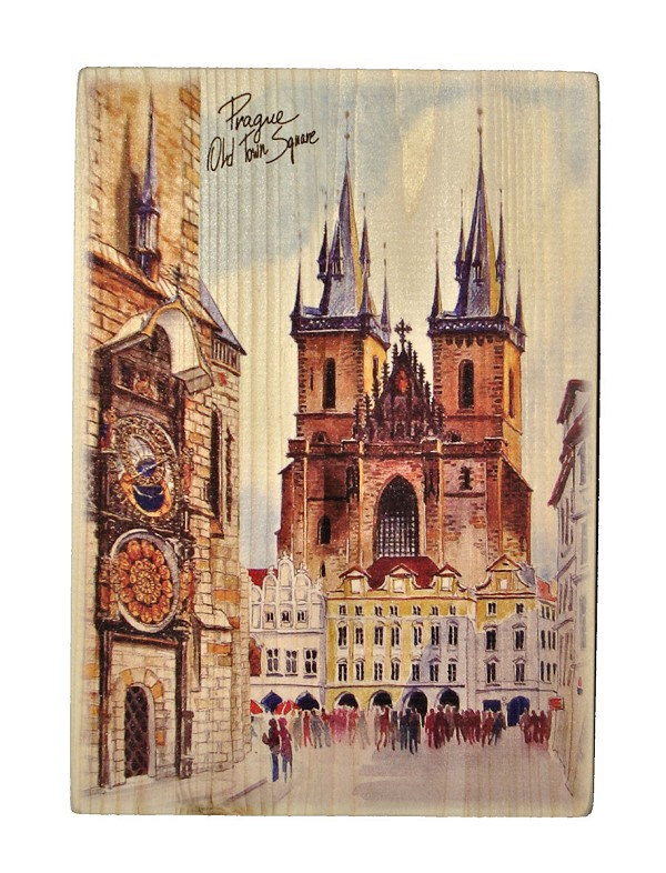 Prague Old Town Square wooden board picture tall