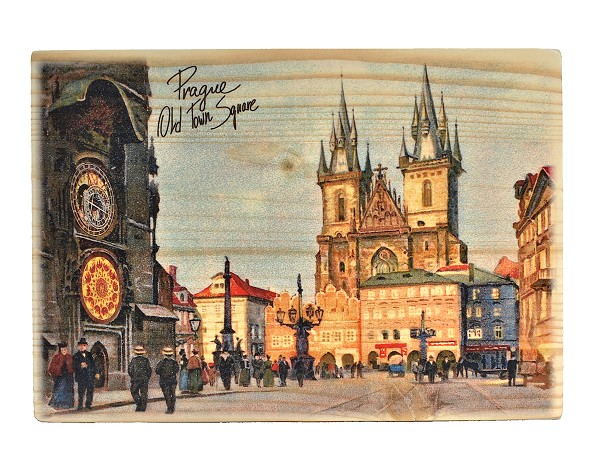 Prague Old Town Square wooden board picture wide