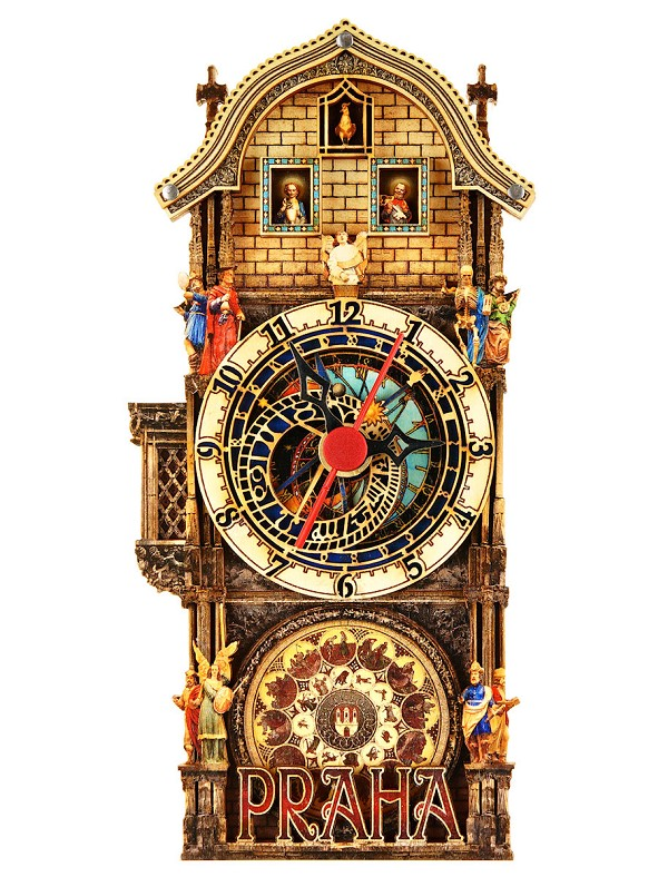 Prague Astronomical Clock small painted wooden clock